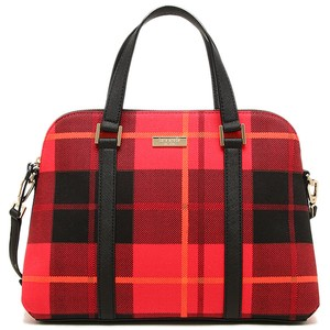 Kate Spade Newbury Lane Plaid Small Rachelle Red & Black Canvas/leather Satchel in PlaidRed