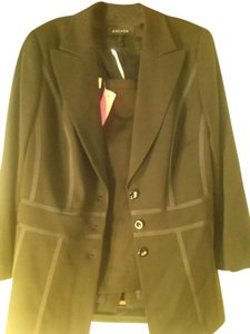 Escada Escada black wool skirt suit with piping