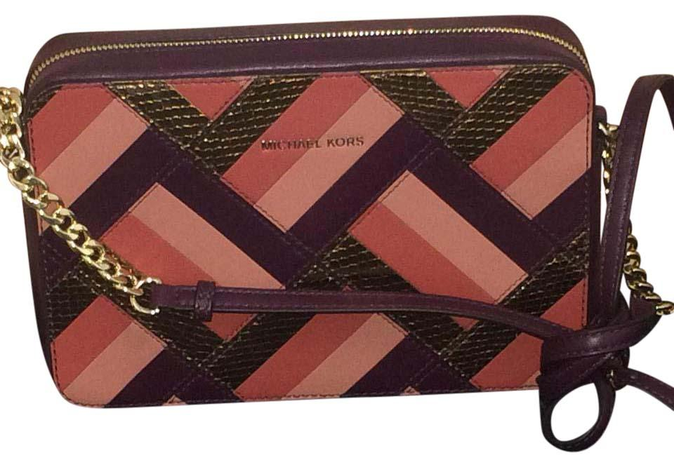 66628e2cc5c9 Michael Kors Marquetry Patchwork Plum/Multi Leather Cross Body Bag ...