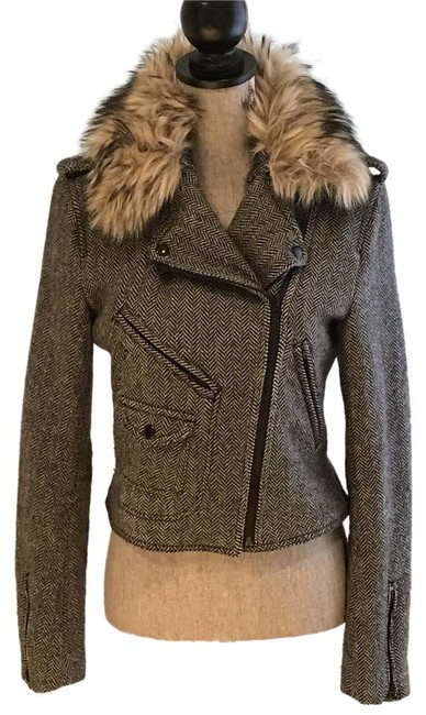 Item - Black and Taupe Herrringbone Wool Detachable Faux Fur Collar Jacket Size 6 (S)