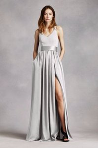 Vera Wang Sterling V Neck Halter Gown With Sash Dress