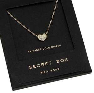 Secret Box 14 K gold dipped crystal heart pendant necklace with secret box.