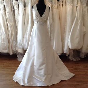 Casablanca Ivory/Silver Satin Wedding Dress Size 10 (M)