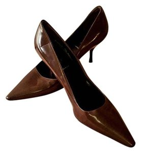 Prada Pointed Toe Leather Patent Leather Evening Brown Pumps