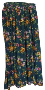 Susan Bristol Maxi Skirt Dark green with multi colored flowers