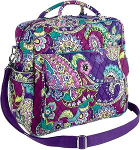 Vera Bradley Backpack Messenger Crossbody Multi Function Machine Washable Purple Green Heather Diaper Bag