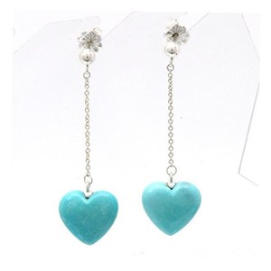 Tiffany & Co. Rare Turquoise Heart Sterling Silver Dangle Drop Earrings