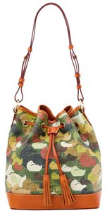 Dooney & Bourke & Canvass Leather Drawstring Shoulder Bag