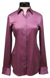 Ann Taylor Silk Legacy Blouse Button Down Shirt Polka Dot Purple/Mauve