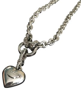 Juicy Couture long silver heart chain necklace