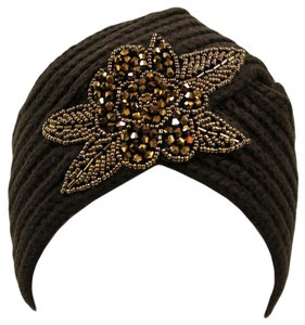 Unknown Black Winter Knit Turban Beanie Hat With Beaded Flower