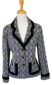 St. John Knit Black and White Plaid w Fringe Blazer