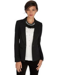White House | Black Market White House Black Market Black Crepe Tux Jacket/Blazer