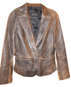 Wilsons Leather Leather Lined Antiqued Vintage Look Antiqued Brown Leather Jacket
