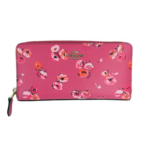 Coach F53770 Wildflower Zip Around Wallet in Dahlia