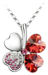 Swarovski 18K White Gold Plated 4 Heart Red Swarovski Charm Necklace