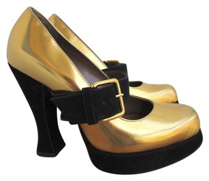 Marni Patent Leather Suede Metallic Gold and Black Platforms
