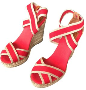 Tory Burch Red/Khaki with stately brown leather. Wedges