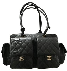 Chanel Leather Monogram Structured Shoulder Bag