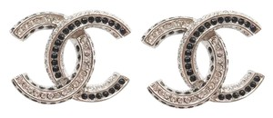 Chanel Chanel Brand New Silver and Black Crystal CC Large Piercing Earrings