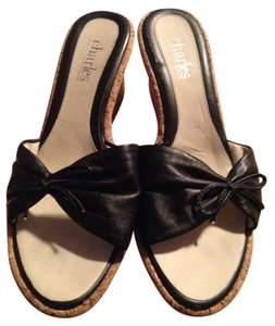 Charles by Charles David Leather Cork Black straps with tan wedge Wedges