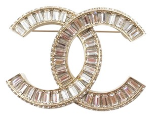 Chanel Chanel Brand New Gold CC Silver Baguette Crystal Brooch