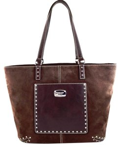 Michael Kors Leather Suede Astor Tote in COFFEE