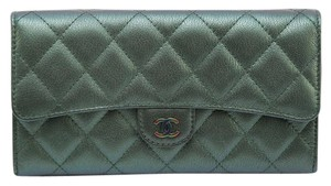 Chanel Chanel 16C Iridescent Green Leather Flap Wallet Long Bifold Rainbow HW