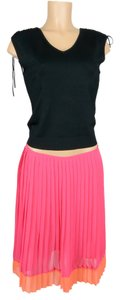 Jones New York Hot Career Fancy Skirt DARK PINK W/ ORANGE BAND AT BOTTOM