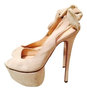 Olgcay Gulsen Olcay Suede Bow Stiletto Peep Toe Platform High Heel Off White Pumps
