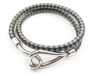 Hermès Hermes Unisex Hook Palladium Black Grey Weaving Double Bracelet Choker