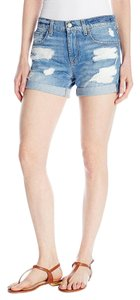 7 For All Mankind Roll Up Distressed Cuffed Shorts Rigid Blue Orchid