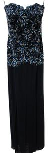Vicky Tiel Formal Beaded Sequins Sheer Strapless Dress