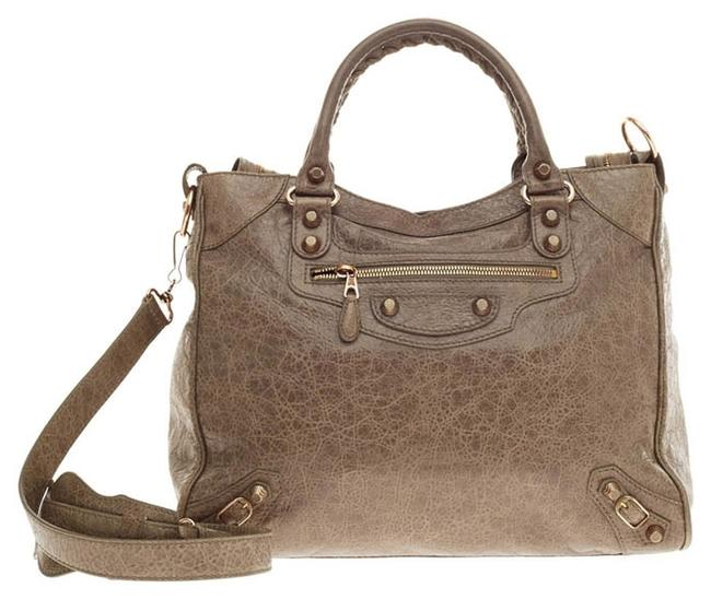 Item - Velo Giant Studs Neutral Gray Taupe Leather Tote