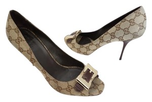 Gucci Monogram Canvas Buckle Front Open Toe Designer Brown Pumps