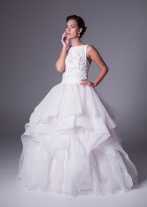 Oleg Cassini High Neck 3d Floral Organza Gown Style #cmb657 Wedding Dress