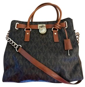 Michael Kors Hamilton Leather Vintage Satchel in Brown