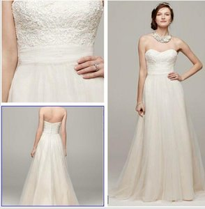 David's Bridal Strapless A-line Beaded Lace Tulle Wedding Dress Wedding Dress