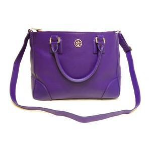Tory Burch Robinson Saffiano Double Zip Satchel in Purple