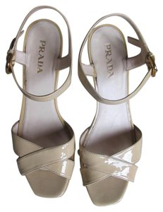 Prada Patent Leather Wedge Beige Sandals