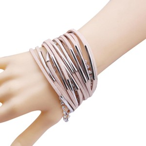 Hijinks Beige leather strip bracelet with gold tubes plus FREE GIFT