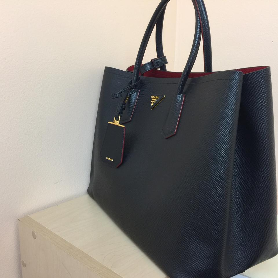 ... sale prada double cuir black and red interior saffiano leather tote  tradesy 33001 47390 ... 7124109c5a