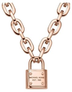 Michael Kors Nwt padlock charm rose gold tone necklace mkj3327791