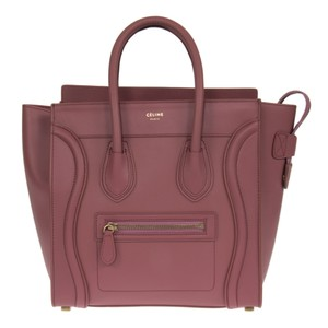 Céline Micro Luggage Bordeaux Cherry Tote in Cherry Pink