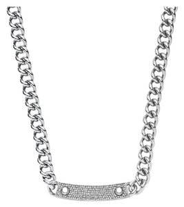 Michael Kors NWT Silver Reversible Pave&Logo Plaque Toggle Necklace MKJ3618040