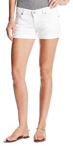 Paige Denim Roll Up White Cuffed Shorts Optic White