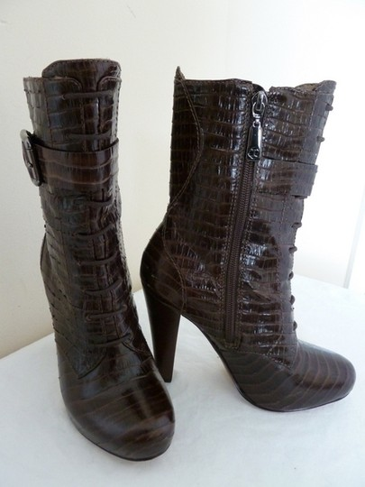 """Talbots Leather Embossed Side Zipper 4"""" Heel Brown Boots"""