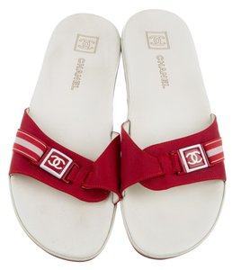 Chanel Interlocking Cc Embroidered Logo Rubber Peep Toe Red, White Sandals