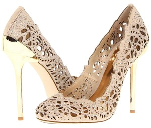 BCBGMAXAZRIA Nude and Gold Pumps