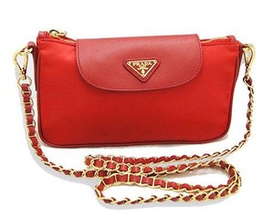 Prada Bt0779 Red Rosso Tessuto Cross Body Bag